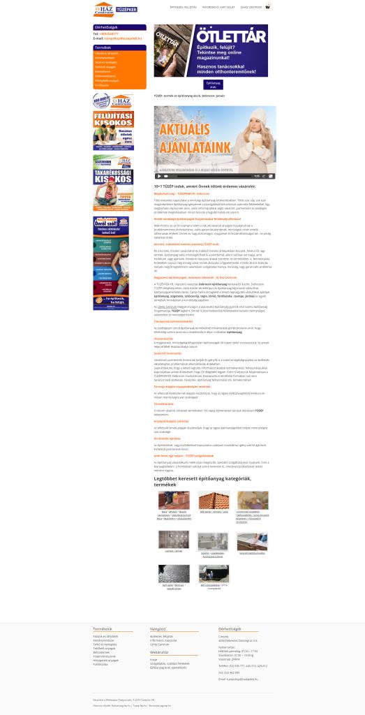 tüzépker kft honlapjának kategóriaoldala