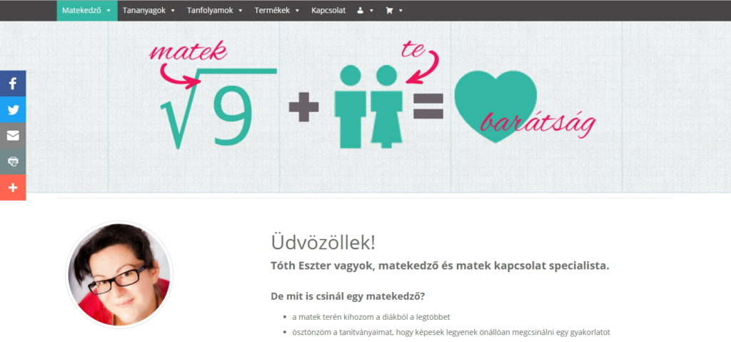 matekedzo.hu főoldal referencia kép