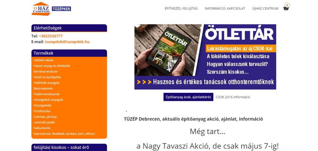 tuzepdeb.hu főoldal referencia kép